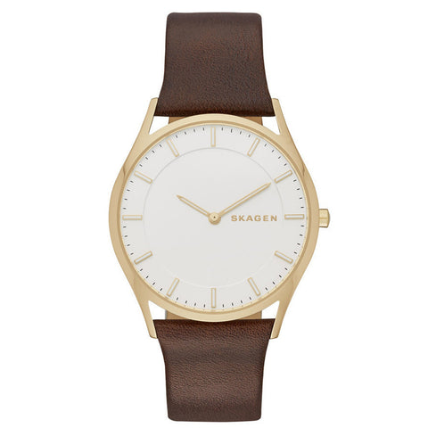 SKAGEN Holst Silver Dial Brown Leather Ladies Watch SK-SKW6225 - BrandNamesWatch.com