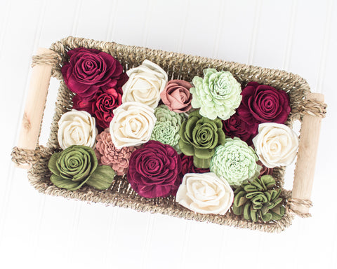 Rose Garden sola flower assortment on a woven basket