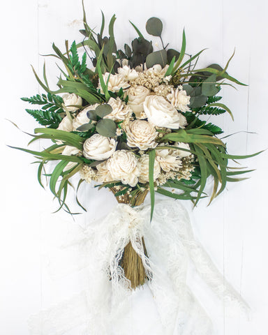 White sola flower bouquet