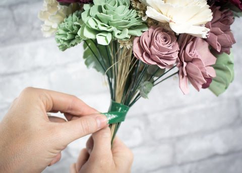 Sola Wood Flowers Sola School Bouquet Tutorial Securing with Tape