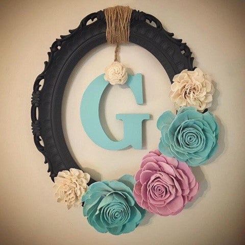 Create wood flower wreath made by one of our customers.