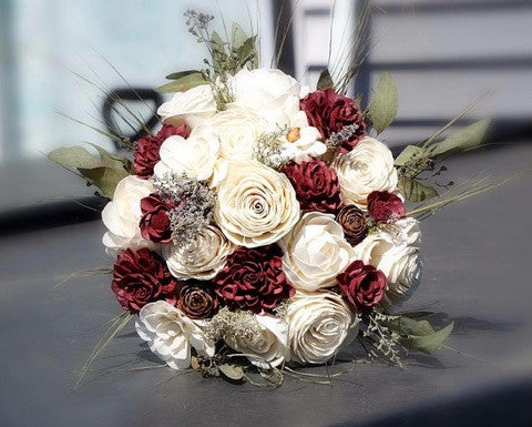 Sola wood flower bridal bouquet made by one of our customers.