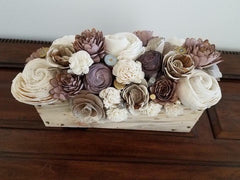 Wood Flower centerpiece made by one of our customers!