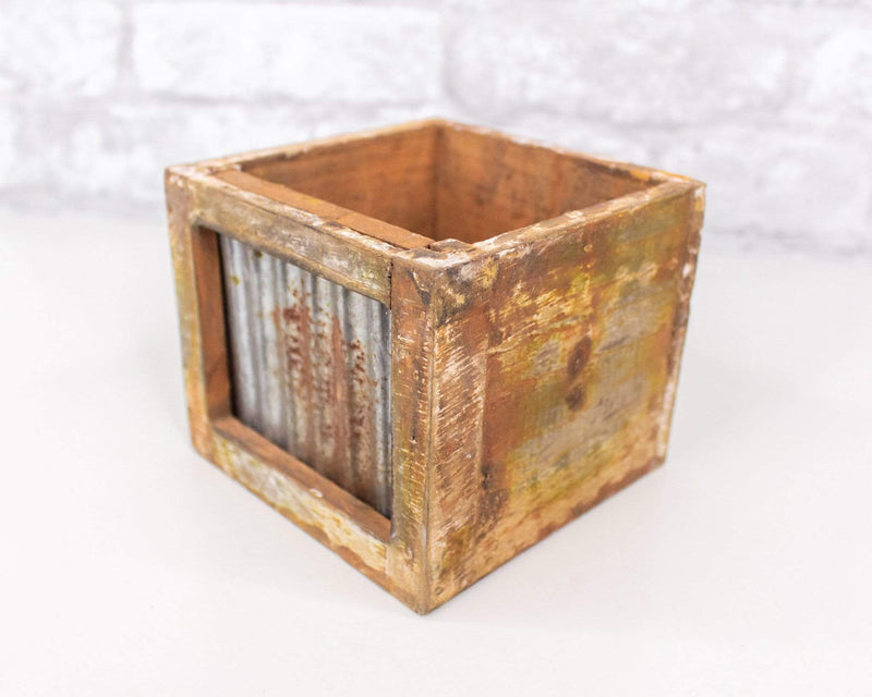 Sola Wood Flowers Craft supplies Distressed Wood/Metal Planter (Multiple Sizes)