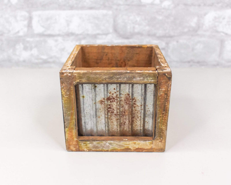 Sola Wood Flowers Craft supplies Distressed Wood/Metal Planter (Multiple Sizes) Cube