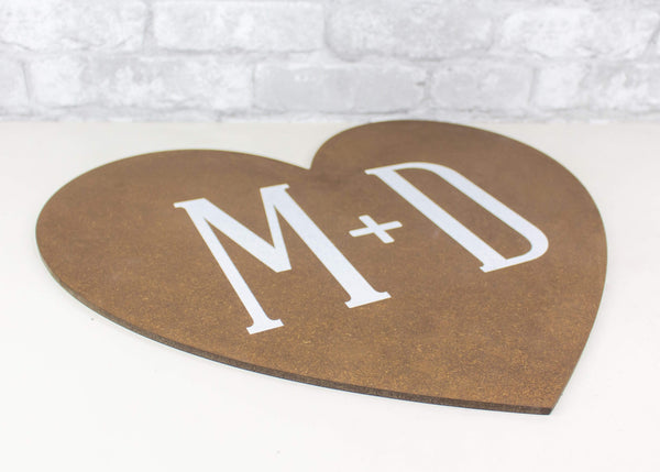 Sola Wood Flowers Wood cutout Custom Heart Cutout w/ Initials