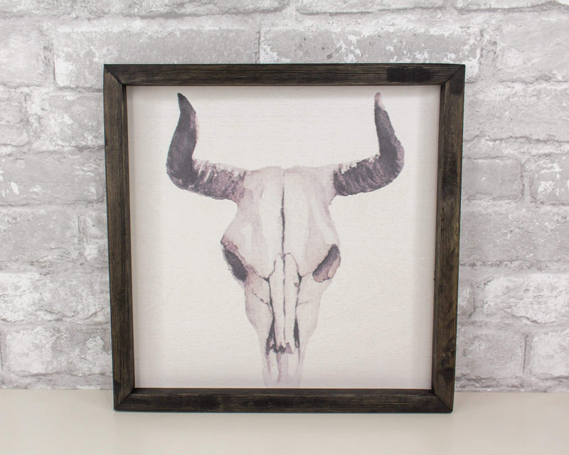 Sola Wood Flowers Wood print Animal Print - Bull Skull (Clyde)