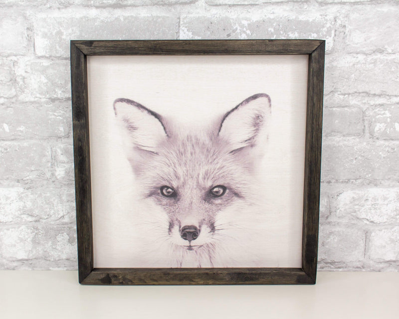 Sola Wood Flowers Wood print Animal Print - Fox