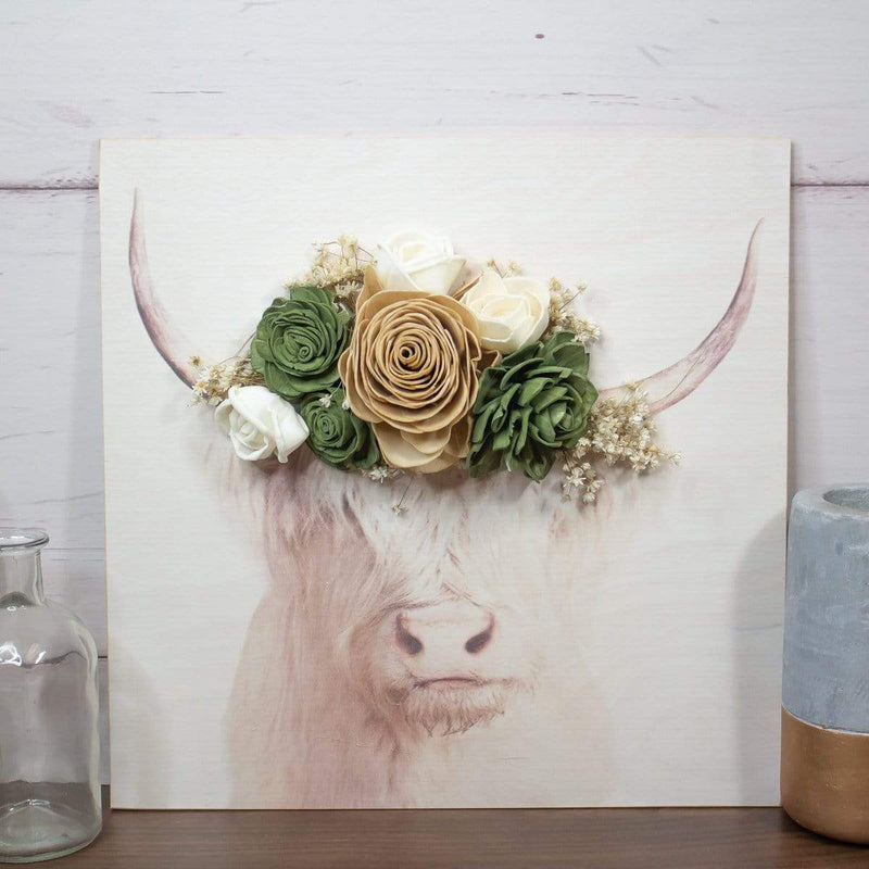 Sola Wood Flowers Wood print Animal Print - Highland Cow