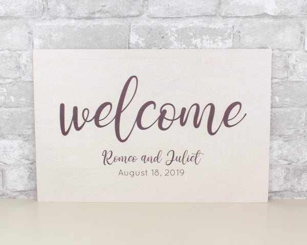 Sola Wood Flowers Wood print Custom Wedding Welcome Sign