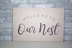 Sola Wood Flowers Wood print 'Welcome To Our Nest' Wood Print