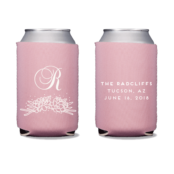 Succulent Monogram Can Coolers