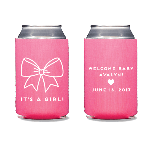 Baby Girl Bow Can Coolers