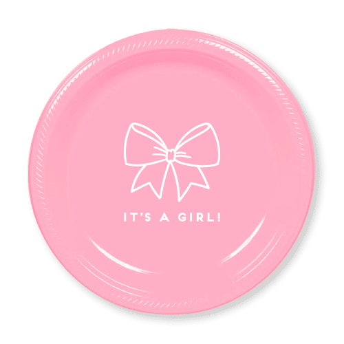 Baby Girl Bow Plastic Plates