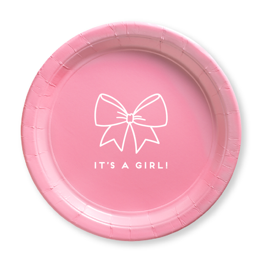 Baby Girl Bow Paper Plates