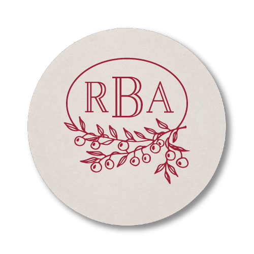 Berry Laurel Monogram Coasters