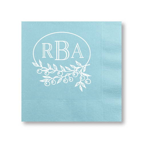 Berry Laurel Monogram Cocktail Napkins