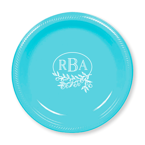 Berry Laurel Monogram Plastic Plates