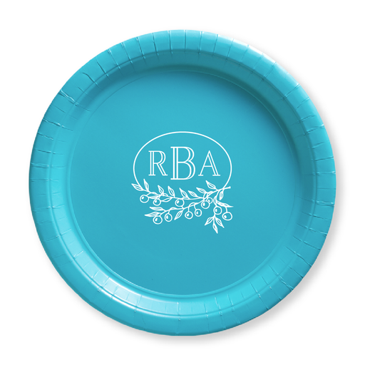 Berry Laurel Monogram Paper Plates