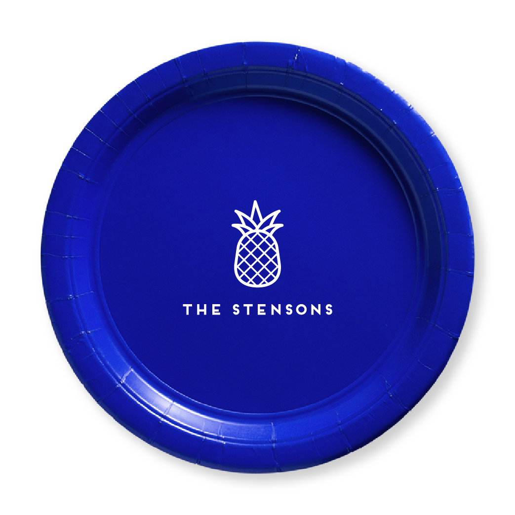 Personalized Pineapple Paper Plates