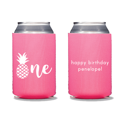 Pineapple First Birthday Can Coolers