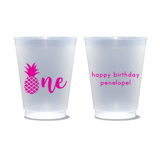 Pineapple First Birthday Frosted Cups
