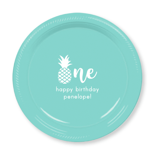 Pineapple First Birthday Plastic Plates