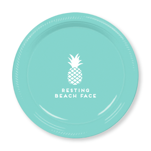Resting Beach Face Plastic Plates