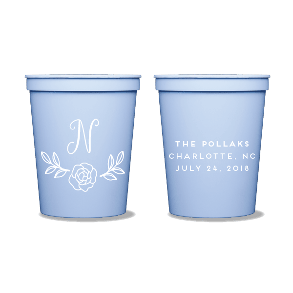Rose Garden Monogram Party Cups