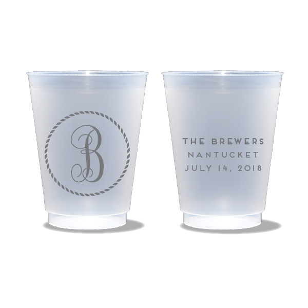 Rope Circle Monogram Frosted Cups