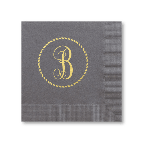 Rope Circle Monogram Luncheon Napkins