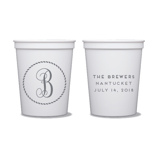Rope Circle Monogram Party Cups