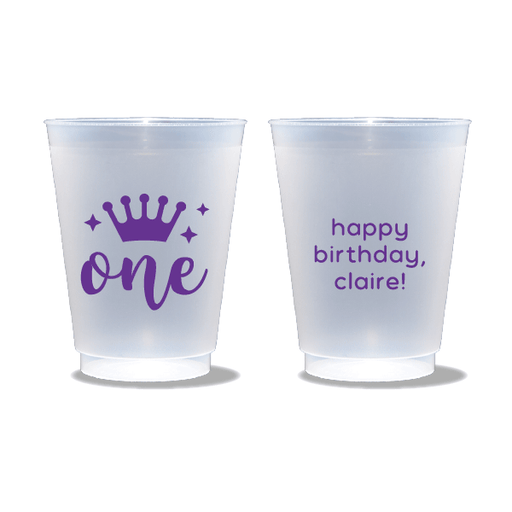 First Birthday Princess Frosted Cups