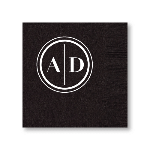 Monogram Circle Cocktail Napkins