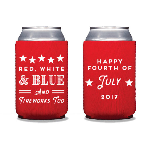 Red, White, Blue & Fireworks Too Can Coolers