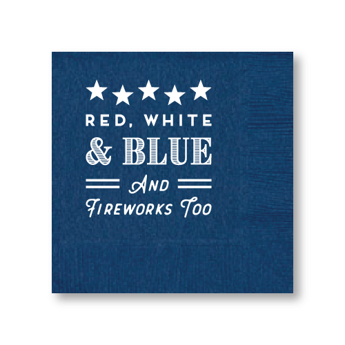 Red, White, Blue & Fireworks Too Cocktail Napkins