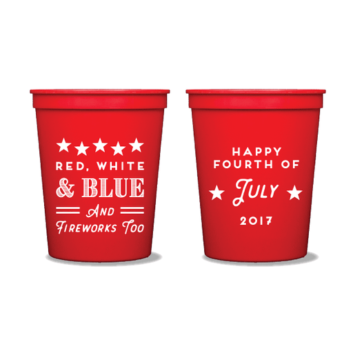 Red, White, Blue & Fireworks Too Party Cups