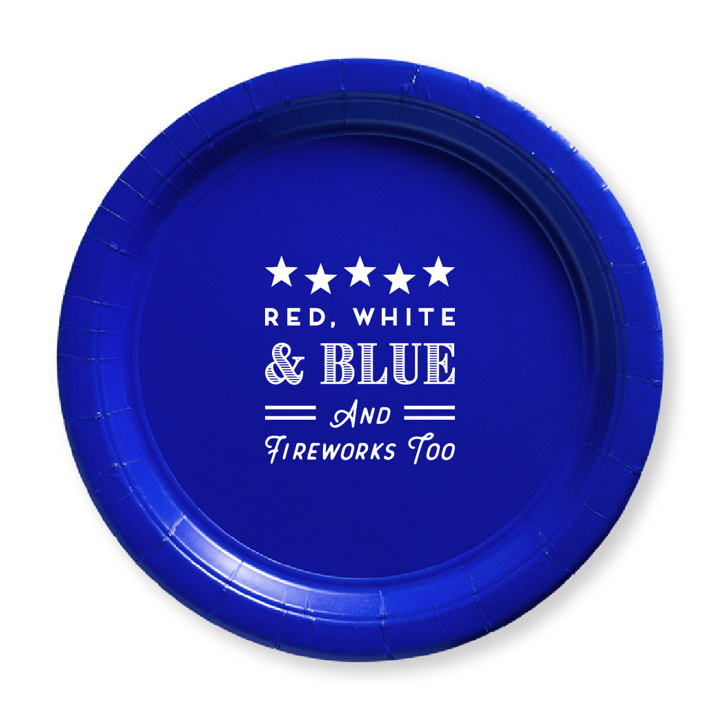 Red, White, Blue & Fireworks Too Paper Plates