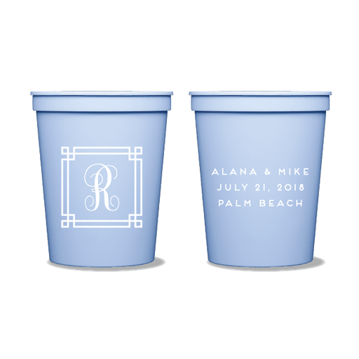 Square Frame Monogram Party Cups