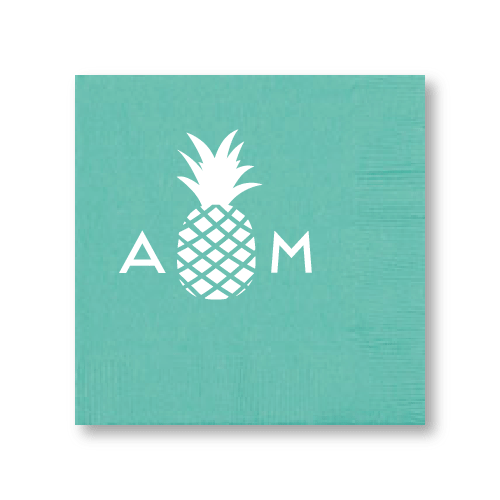 Monogrammed Pineapple Cocktail Napkins