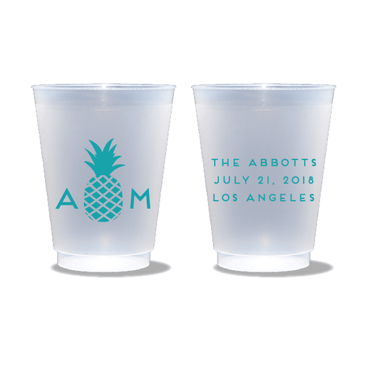 Monogrammed Pineapple Frosted Cups