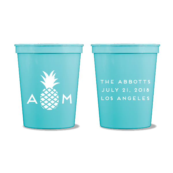 Monogrammed Pineapple Party Cups