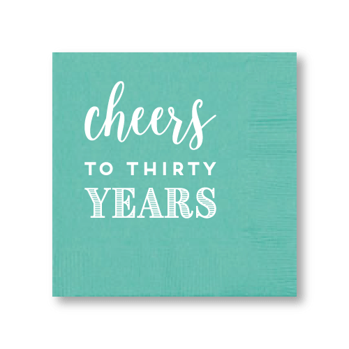 Cheers to Thirty Years Cocktail Napkins