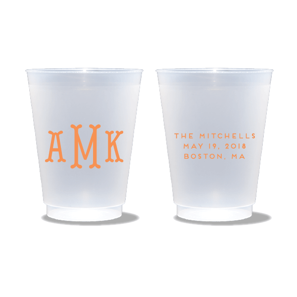 Fishtail Monogram Frosted Cups