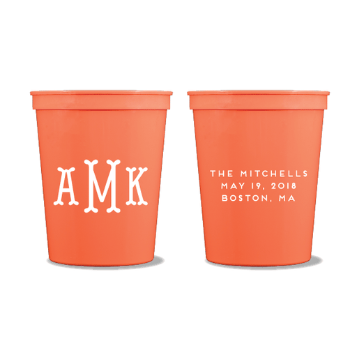 Fishtail Monogram Party Cups