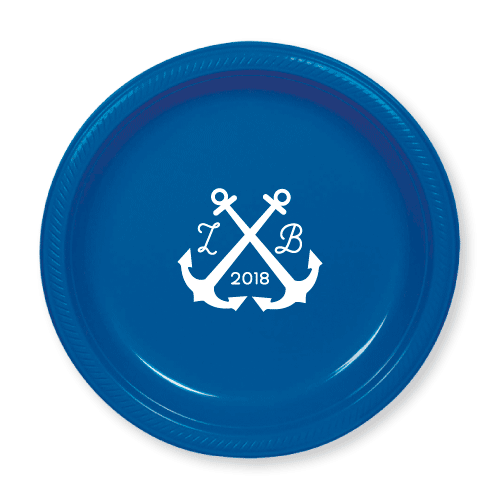 Wedding Anchors Plastic Plates
