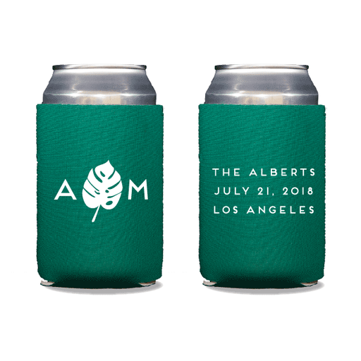 Monogrammed Monstera Can Coolers