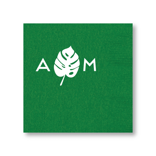 Monogrammed Monstera Cocktail Napkins
