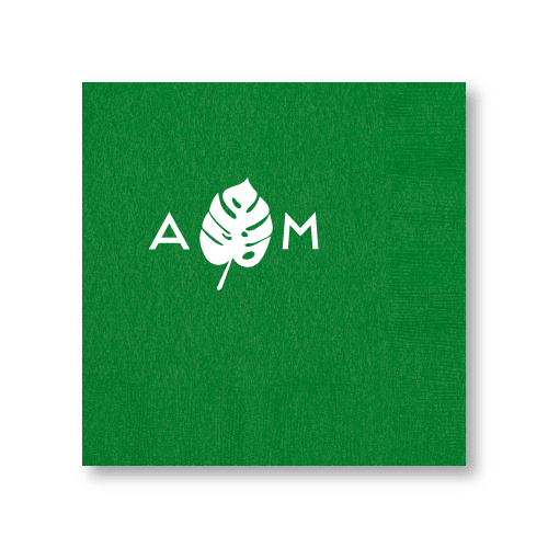 Monogrammed Monstera Dinner Napkins