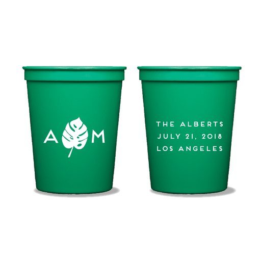 Monogrammed Monstera Party Cups